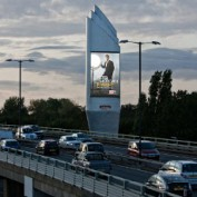 Motorway-mounted LED display provides publicity for Piers Morgan